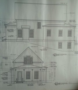 Front (west) elevation of plans and south side elevation